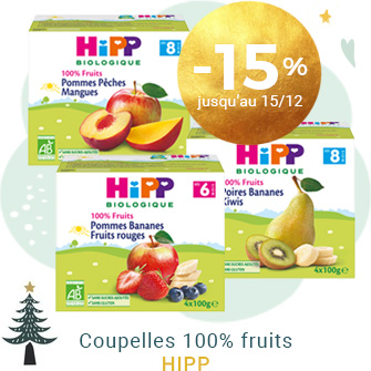 Coupelles 100% fruits de HIPP à -15% !