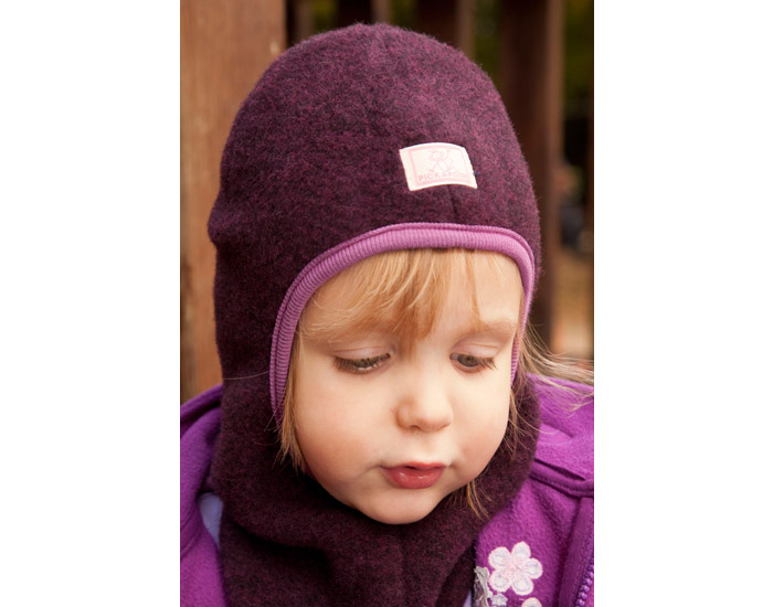 cagoule enfant polaire de laine violet pickapooh. Black Bedroom Furniture Sets. Home Design Ideas