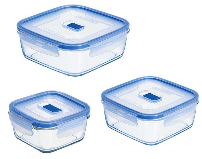 set de 3 contenants alimentaires carrs en verre pure box. Black Bedroom Furniture Sets. Home Design Ideas