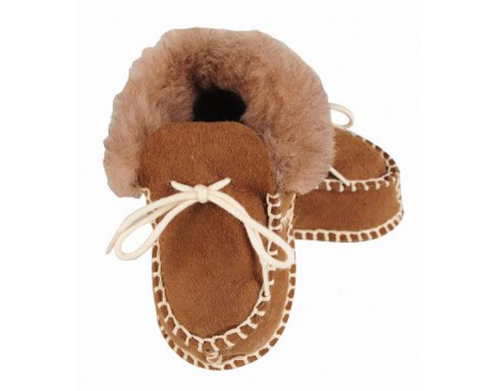 chaussons bb fourrs en peau d 39 agneau marron kaiser. Black Bedroom Furniture Sets. Home Design Ideas