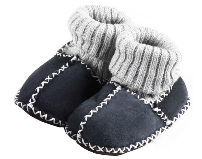 chaussons bb en peau d 39 agneau bleu marine saling. Black Bedroom Furniture Sets. Home Design Ideas