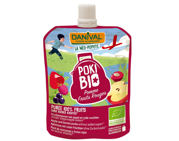 DANIVAL Poki Bio - Gourde Pomme Fruits Rouges - 90 g