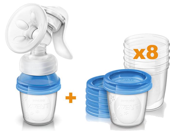 tire lait manuel natural 8 pots de conservation 180 ml avent. Black Bedroom Furniture Sets. Home Design Ideas