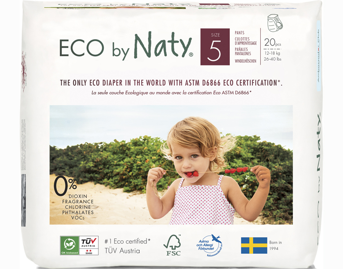 NATY Culottes d'Apprentissage Jetables ECO - Taille 5 Junior 12-18 kg