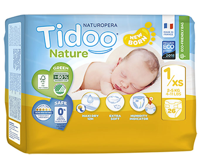 TIDOO Pack x2 Couches Écologiques Nature - Taille 1 / 2-5 kg / 2x26 couches