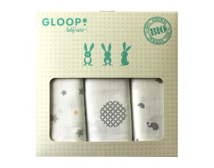Set de 3 Langes /Étoiles 3 Tailles en Coton BIO Gloop