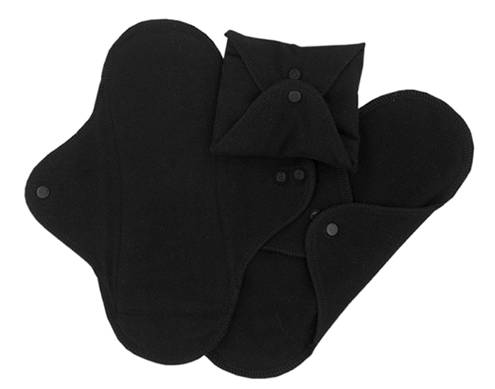 IMSEVIMSE Serviettes Hygiénique Lavable - Noir - Lot de 3