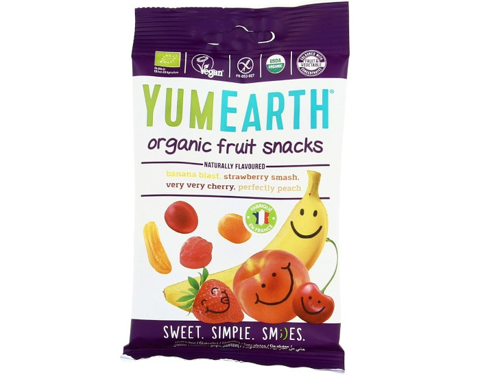 YUMEARTH Assortiment de Bonbons Bio Tendres en Formes de Fruit - 50 g