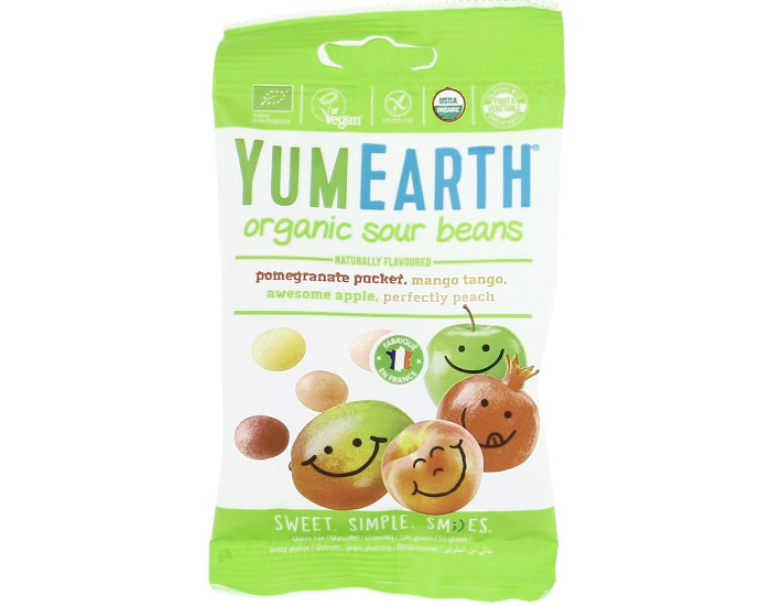 YUMEARTH Assortiment de Bonbons Bio Tendres Acidulés - 50 g