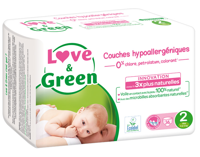 LOVE & GREEN Couches Écologiques 0% x3 T2 / 3-6 Kg / 3 x 36 couches