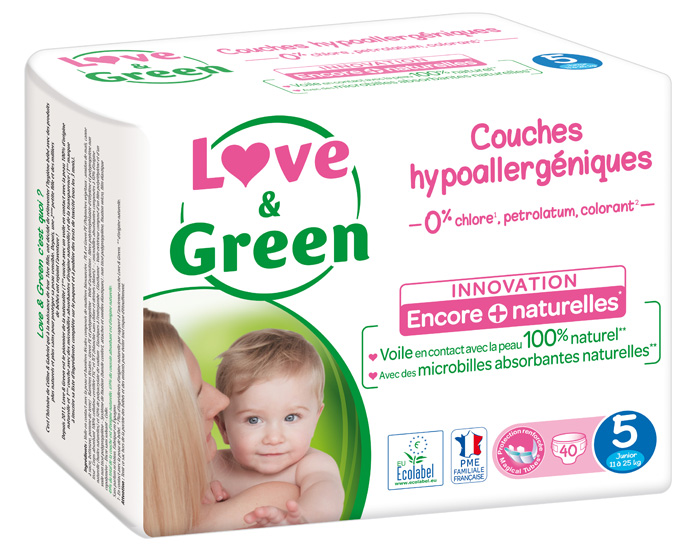 LOVE & GREEN Pack x3 Couches Écologiques 0% T5 / 11-25 Kg / 3 x 40 couches