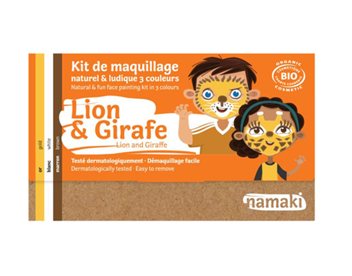 NAMAKI Kit de Maquillage 3 Couleurs - Lion et Girafe