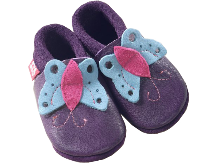 POLOLO Chaussons en cuir - Butterfly Aubergine 20/21