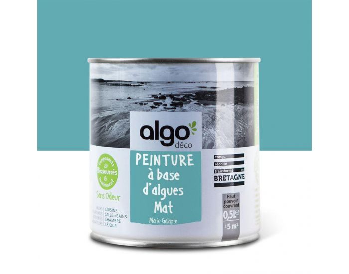 ALGO PAINT Peinture Biosourcée Décorative Bleue Finition Satin (Marie Galante)