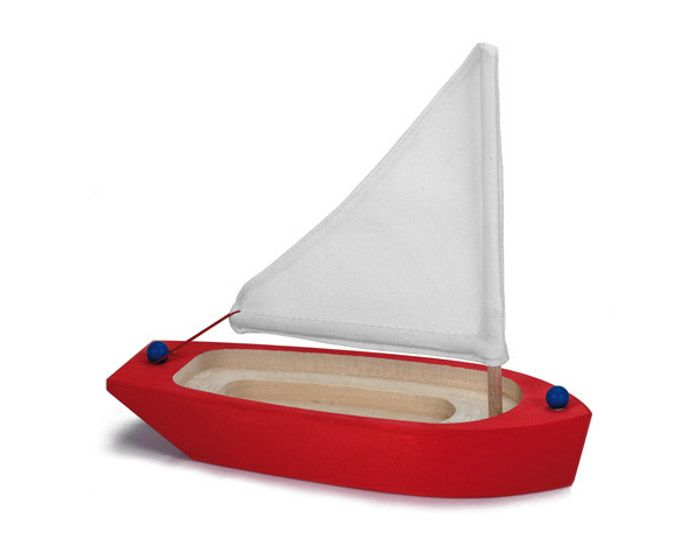 bateau en bois rouge d s 3 ans bateau en bois qui flotte sur l 39 eau marionnettes petits mondes. Black Bedroom Furniture Sets. Home Design Ideas