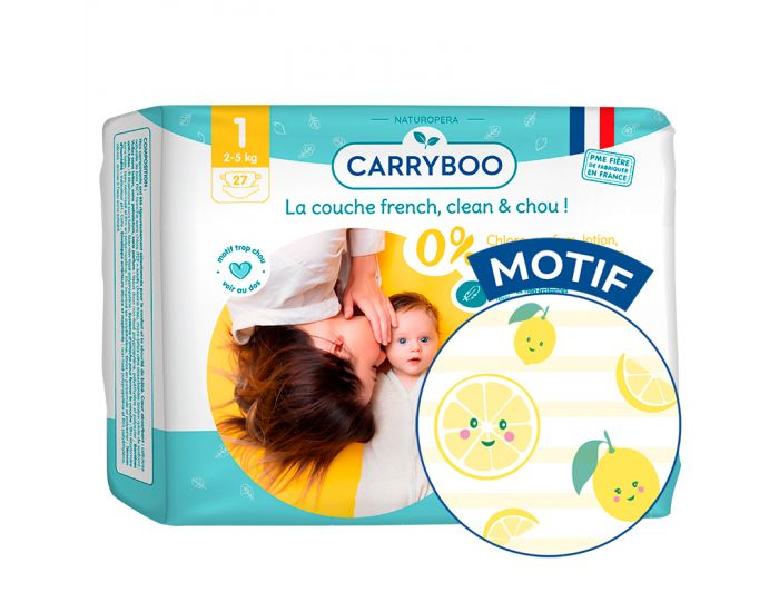 CARRYBOO Couches Ecologiques Dermo-sensitives T1 - 2 à 5Kg - 5x27 couches