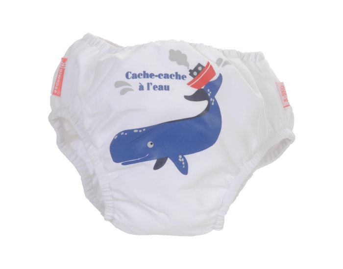 PIWAPEE Maillot Couche Anti Fuite Clipsable Swim + Bebe Nageur - Cachalot Blanc 4-8 KG ( 3-6M) (1)