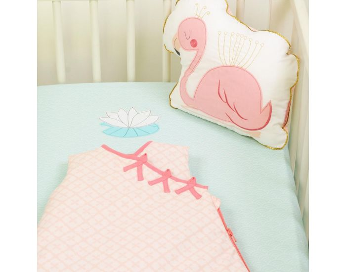 LITTLE CREVETTE Drap-housse Flamant rose 70 x 140 cm (4)