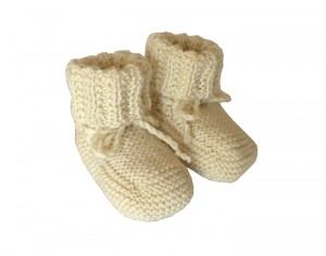 TIDOOBIO Chaussons Montants B�b� Tricot�s Main - Taille 3-6 Mois Ecru