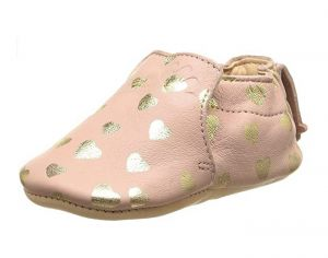 EASY PEASY Chaussons en Cuir Blublu Lovely Rose Baba Or