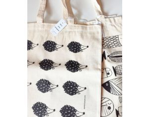 MARIE CHAROZé ILLUSTRATION & NATURE Lot de 2 Tote Bag / Sacs - Ecru Hérissons et Poissons