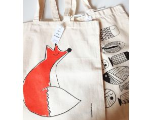 MARIE CHAROZE ILLUSTRATION & NATURE Lot de 2 Tote Bags / Sacs - Ecru Poissons et Renard