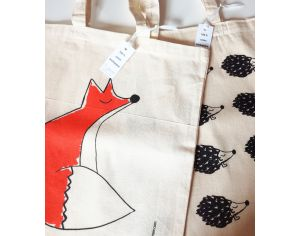 MARIE CHAROZE ILLUSTRATION & NATURE Lot de 2 Tote Bags / Sacs - Ecru Hérissons et Renard