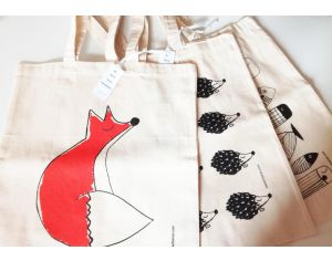 MARIE CHAROZE ILLUSTRATION & NATURE Lot de 3 Totes Bag / Sacs - Ecru Hérissons, Poissons et Renard