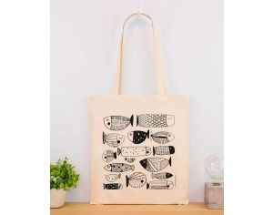 MARIE CHAROZE ILLUSTRATION & NATURE Tote Bag / Sac - Ecru Poissons