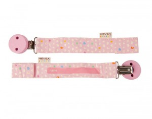 HEVEA Attache Sucette en Coton Bio  Rose