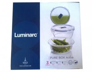 LUMINARC Pure Box - Contenants Alimentaires Ronds en Verre - Set de 3