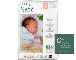 NATY Couches Jetables Eco 1 Newborn 2-5Kg - Paquet de 26