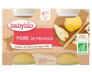 BABYBIO Mes Fruits - 2 x 130 g Poire Williams - 4 mois