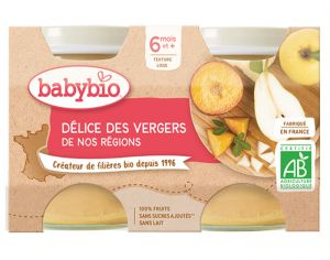 BABYBIO Mes Fruits - 2 x 130 g Délices de Fruits - 4 mois