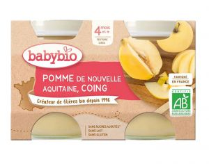 BABYBIO Mes Fruits - 2 x 130 g Pomme d'Aquitaine & Coing - 4 mois