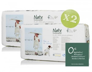 NATY Pack �conomique x2 - Couches Jetables Eco 4+ Maxi+ 9-20 Kg - 2 x 44 soit 88 couches
