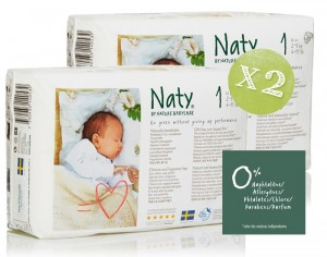 NATY Pack �conomique x2 - Couches Jetables Eco 1 Newborn 2-5 Kg - 2 x 26 soit 52 couches