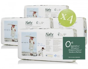 NATY Pack Economique x4 - Couches Jetables Eco 4+ Maxi+ 9-20 Kg - 4 x 44 soit 176 couches