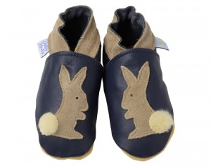 DAISY ROOTS Chaussons en Cuir Marine Lapin - Fait Main en Angleterre M - 20/21