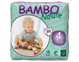 Couches Bambo Nature - Couches Écologiques T4 / 7-18 kg / 30 couches
