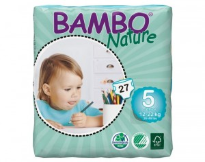BAMBO NATURE Couches Écologiques Nature  T5 / 12-22 kg / 27 couches