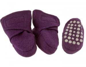 DISANA Chaussons Anti-D�rapants en Laine - Framboise