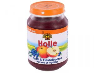 HOLLE Petit Pot de Fruits - 190 g Pommes - Myrtilles - 4M