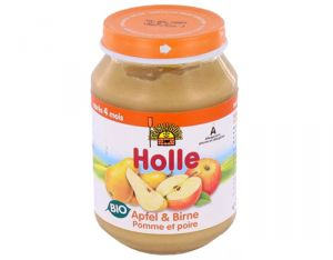HOLLE Petit Pot de Fruits - 190 g Pommes - Poires - 4M