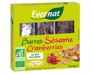 EVERNAT Barres Sésame Cranberries - 75g