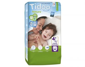 TIDOO Pack Eco Couches Jetables Ecologiques - x3 paquets Maxi + 9-20 kg - 144 couches