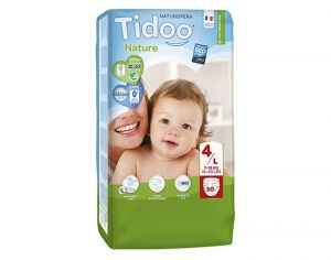 TIDOO Maxi Pack Eco Couches Jetables Ecologiques - x6 paquets Maxi 7-18 kg - 300 couches