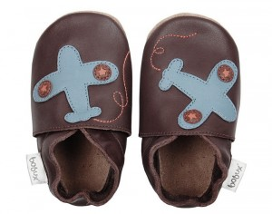 BOBUX Chaussons en Cuir - Avion Chocolat Small (taille 18)