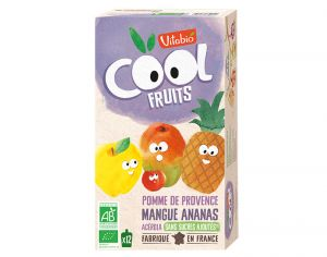 VITABIO Pack Famille Cool Fruits Pomme-Mangue-Ananas-Acérola 12x90g
