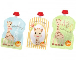 SQUIZ Gourde Souple 90 ml - Sophie la Girafe - Lot de 3